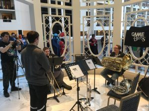 The Game Brass setup for a gazebo performance at MAGfest 2018